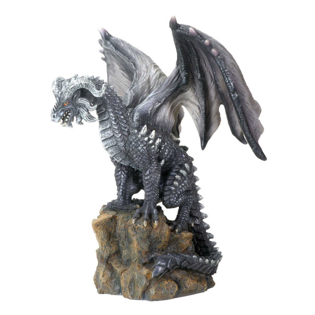 Dark Dragon On Rock Resin Statue