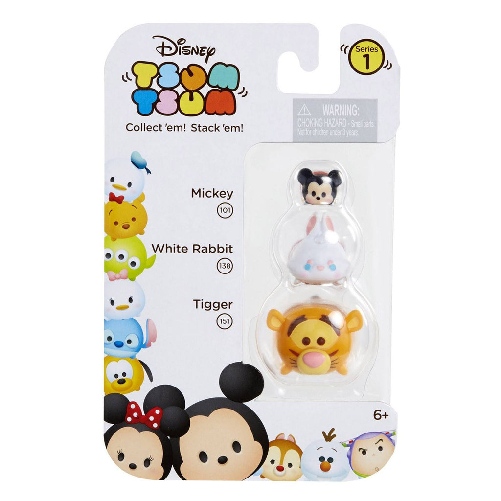 Disney Tsum Tsum Series 1 Mickey White Rabbit Tigger Figures 3 Pack