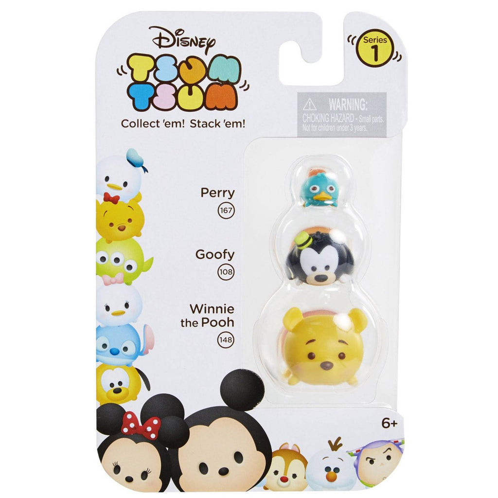 Disney Tsum Tsum Series 1 Perry Goofy Pooh Figures 3 Pack