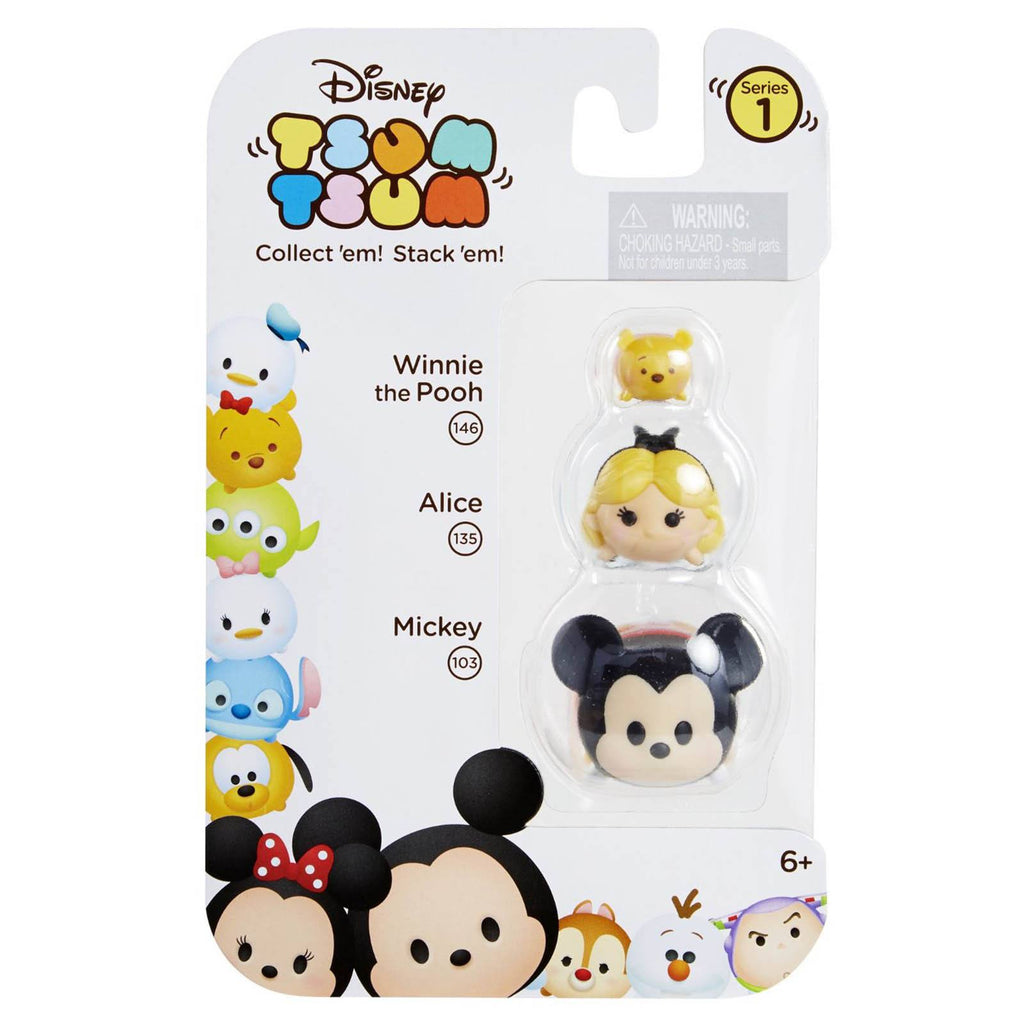 Disney Tsum Tsum Series 1 Pooh Alice Mickey Figures 3 Pack