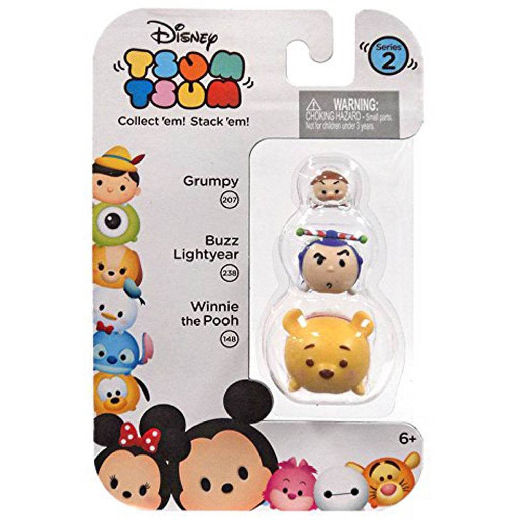 Disney Tsum Tsum Series 2 Grumpy Buzz Winnie Figures 3 Pack - Radar Toys