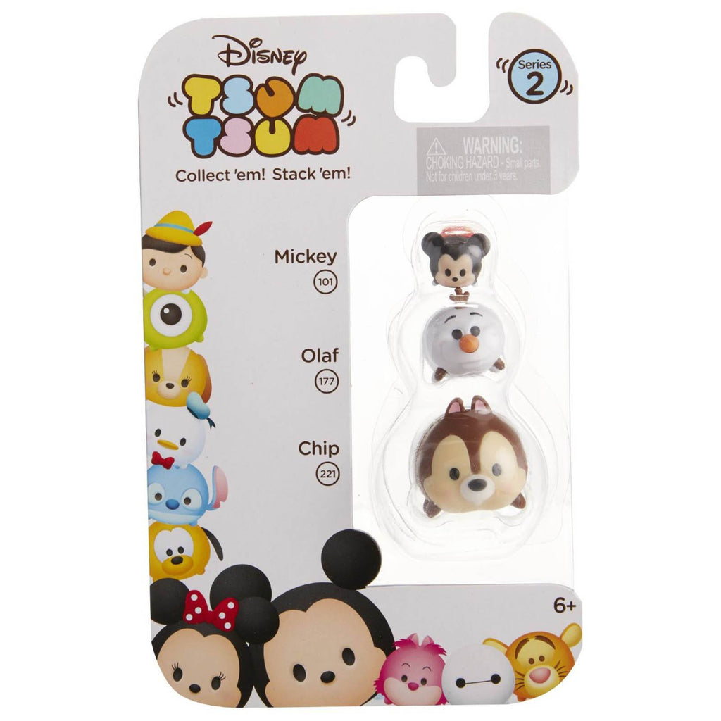 Disney Tsum Tsum Series 2 Mickey Olaf Chip Figures 3 Pack - Radar Toys