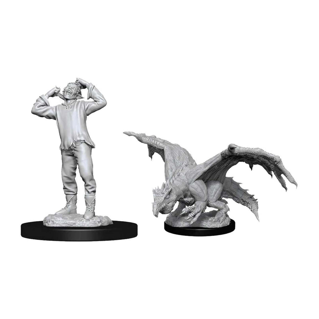 Action Figures - Dungeons And Dragons Green Dragon Wyrmling & Afflicted Elf Nolzur's Miniatures