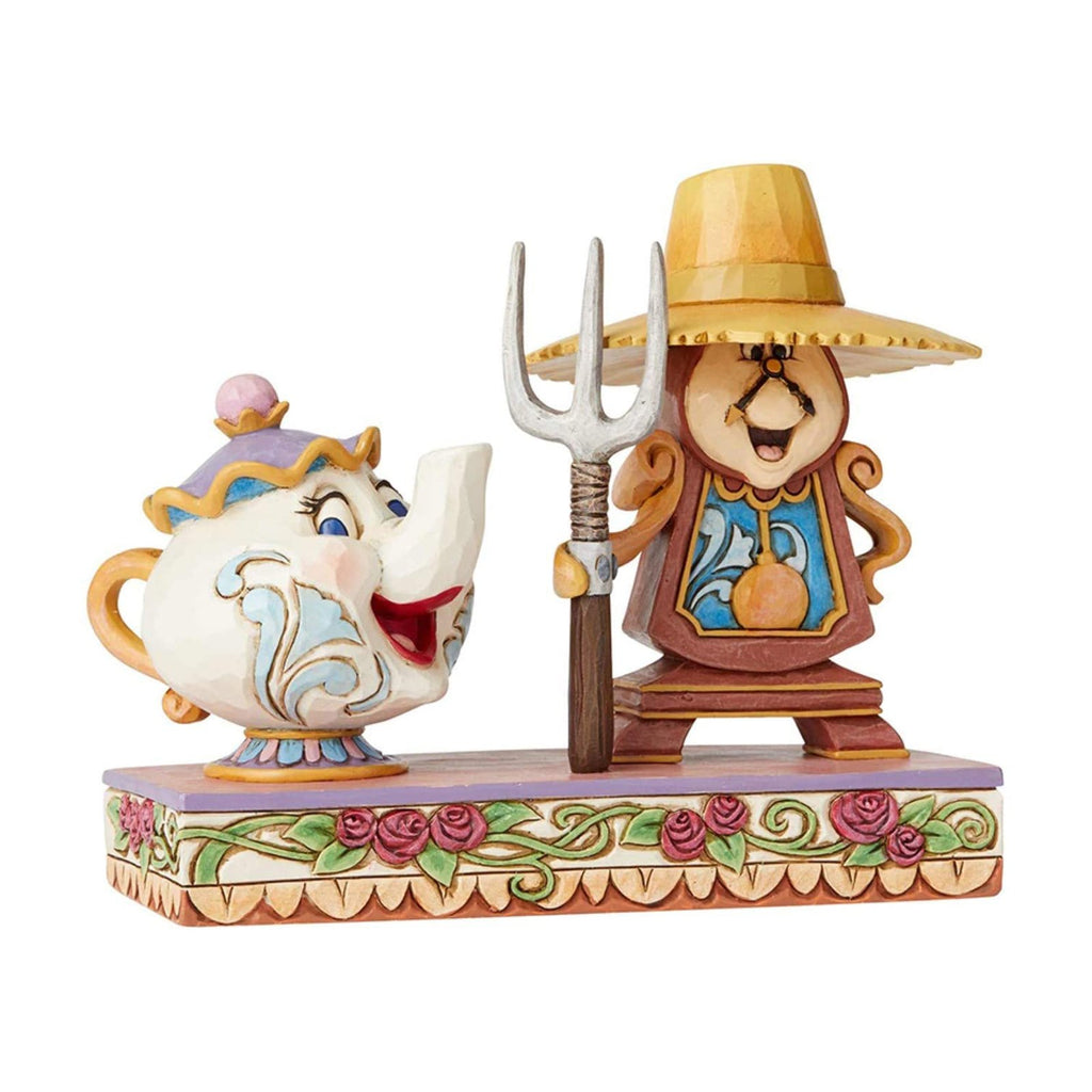 Action Figures - Enesco Disney Traditions Beauty & The Beast Mrs Potts Cogsworth Figurine