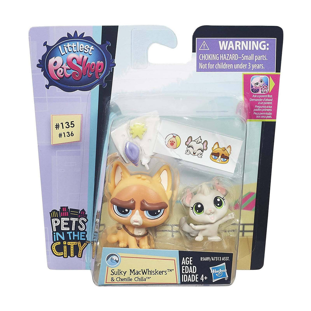 Action Figures - Littlest Pet Shop Pets City Sulky McWhiskers And Chenille Chilla Figures