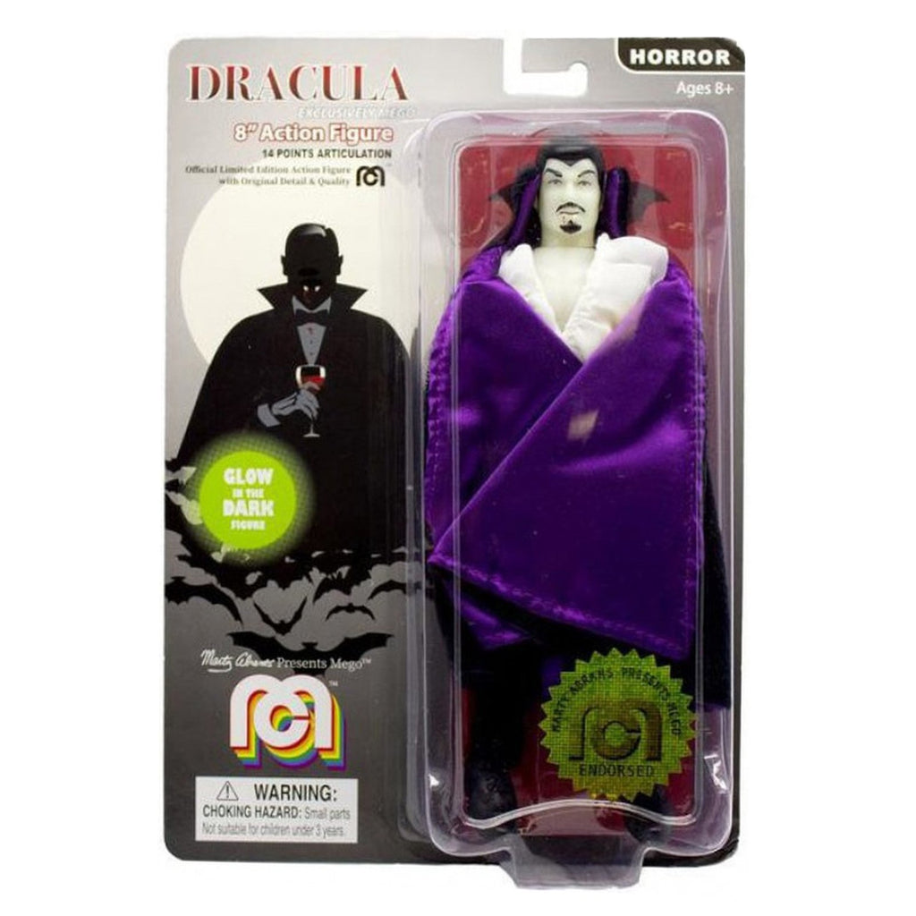 Action Figures - Mego Horror Dracula Purple Cape Glow 8 Inch Action Figure