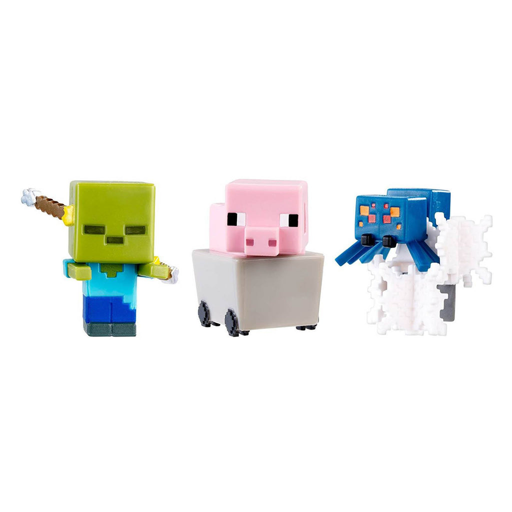 Minecraft 6 End Stone Pig Zombie Webs Mini Figures 3 Pack - Radar Toys