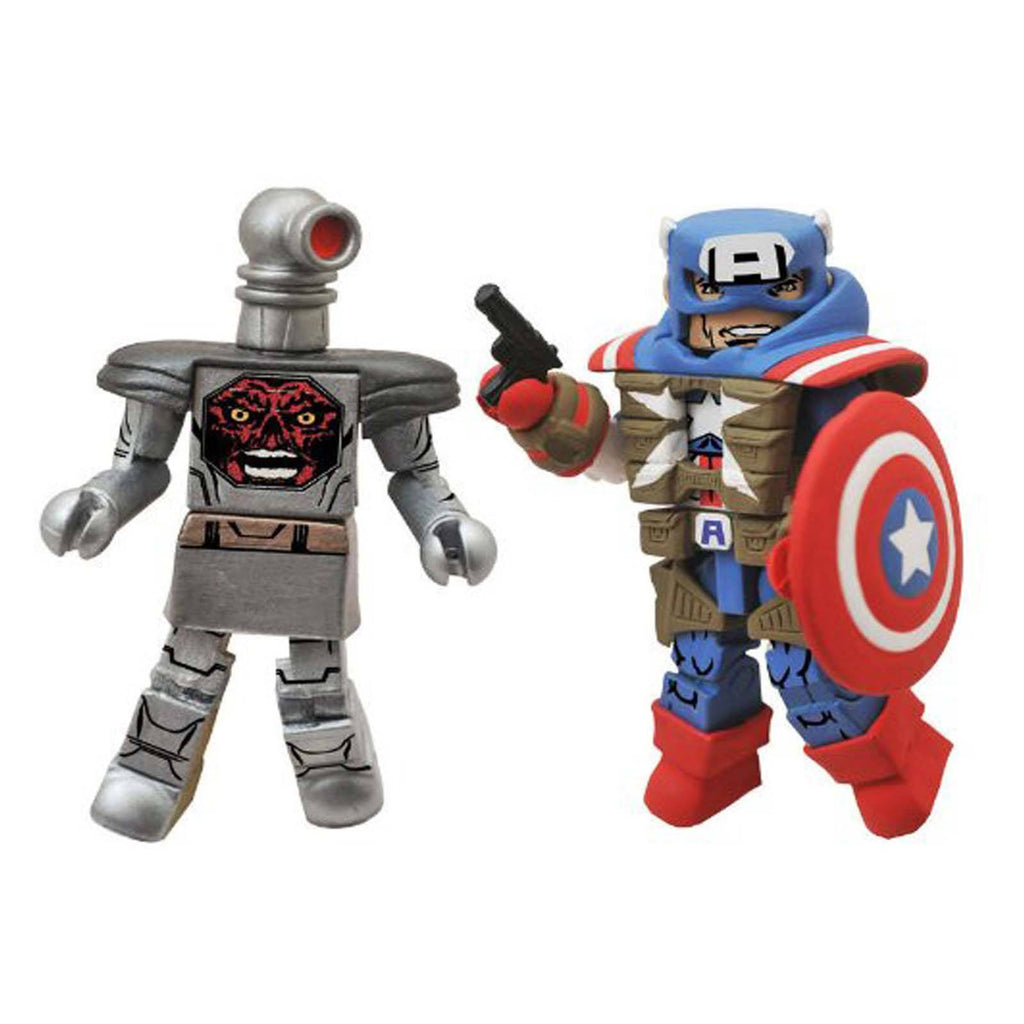 Action Figures - Minimates Marvel Fighting Captain America Robot Red Skull Figure Set