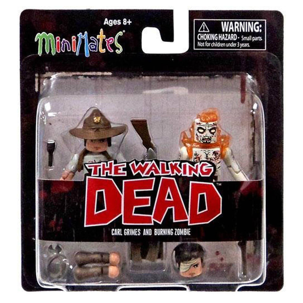 Minimates Walking Dead Series 6 Carl Grimes Burning Zombie Figure Set