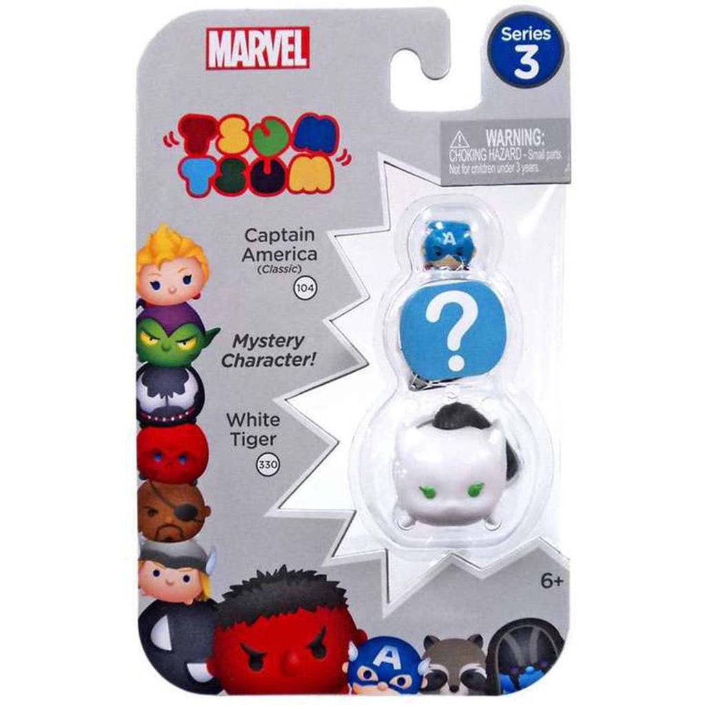 Tsum Tsum Marvel Series 3 Captain Mystery White Tiger 3 Figure Set