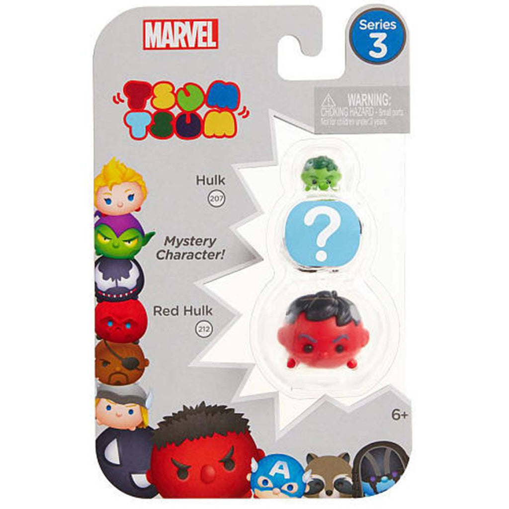 Tsum Tsum Marvel Series 3 Hulk Mystery Red Hulk 3 Figure Set