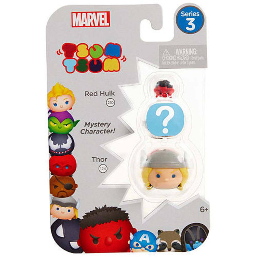 Tsum Tsum Marvel Series 3 Red Hulk Mystery Thor 3 Figure Set