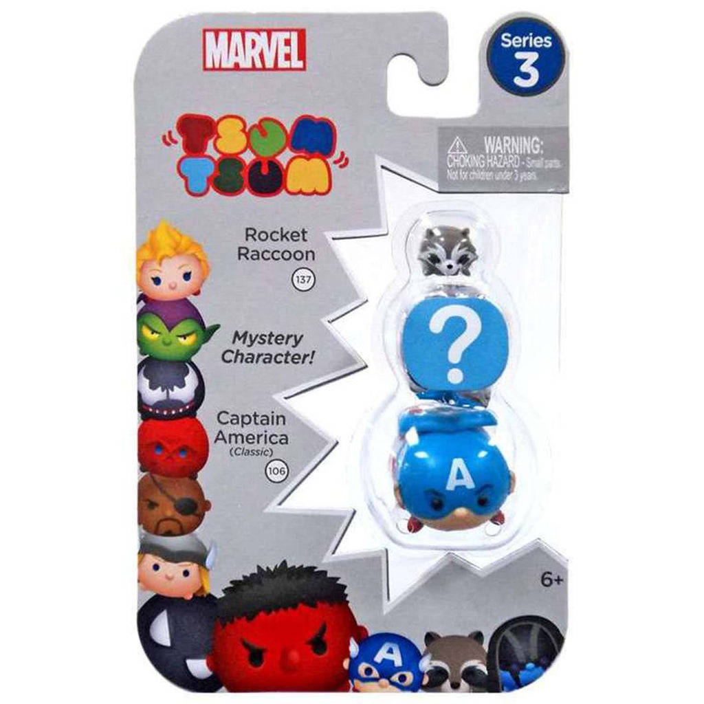 Tsum Tsum Marvel Series 3 Rocket Mystery Captain 3 Figure Set
