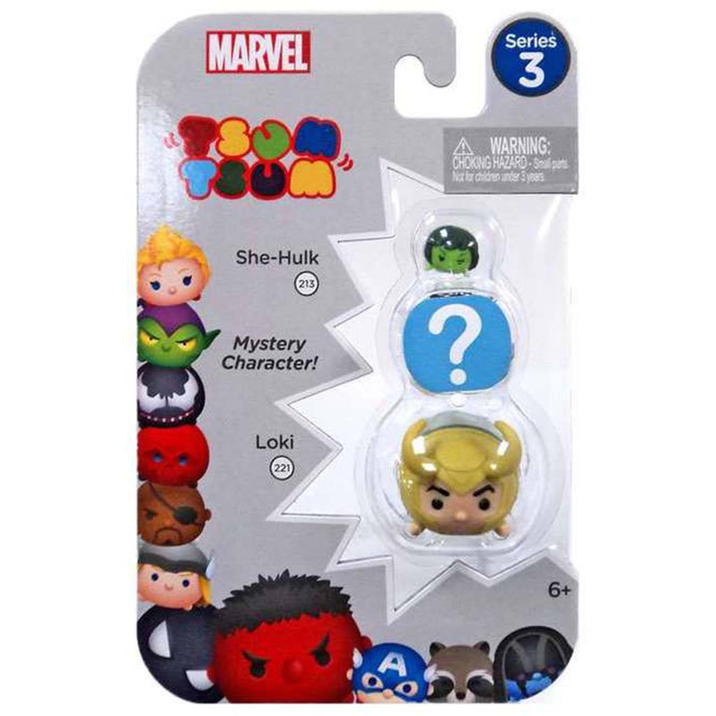 Tsum Tsum Marvel Series 3 She-Hulk Mystery Loki 3 Figure Set