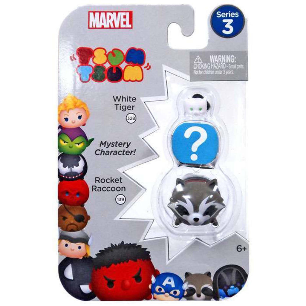 Tsum Tsum Marvel Series 3 White Tiger Mystery Rocket 3 Figure Set