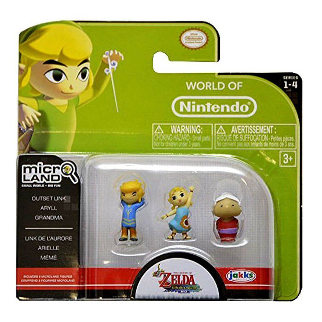 World of Nintendo Zelda Micro Land Outset Link Aryll Grandma 3 Pack Figures