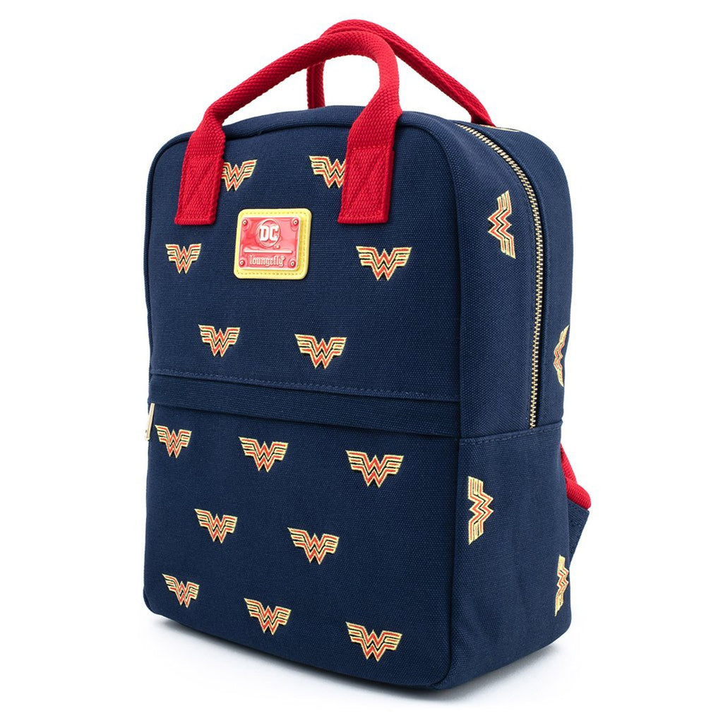 Loungefly DC Comics Wonder Woman Logo All Over Print Canvas Backpack