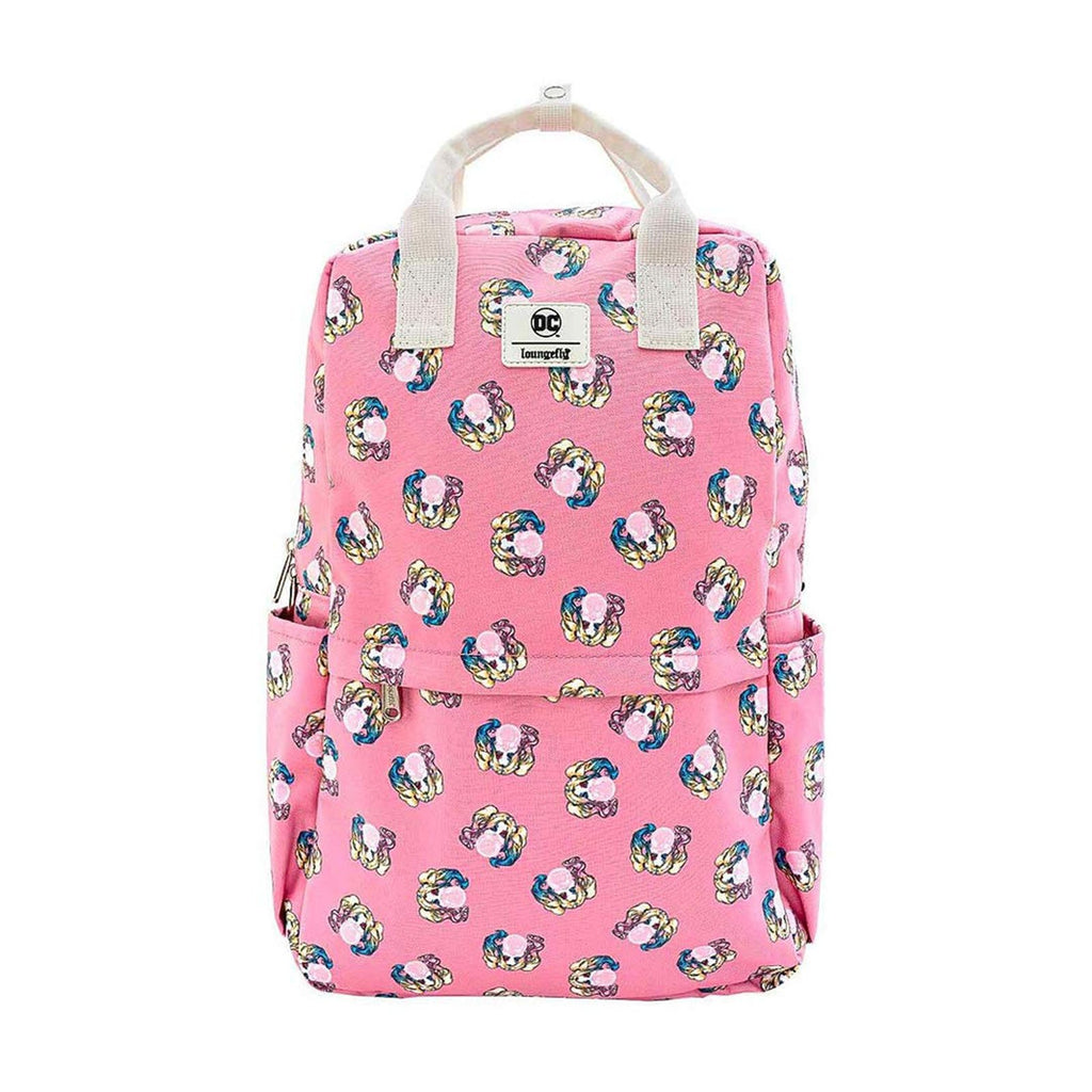 Loungefly DC Harley Quinn Bubble Gum All Over Print Nylon Square Backpack