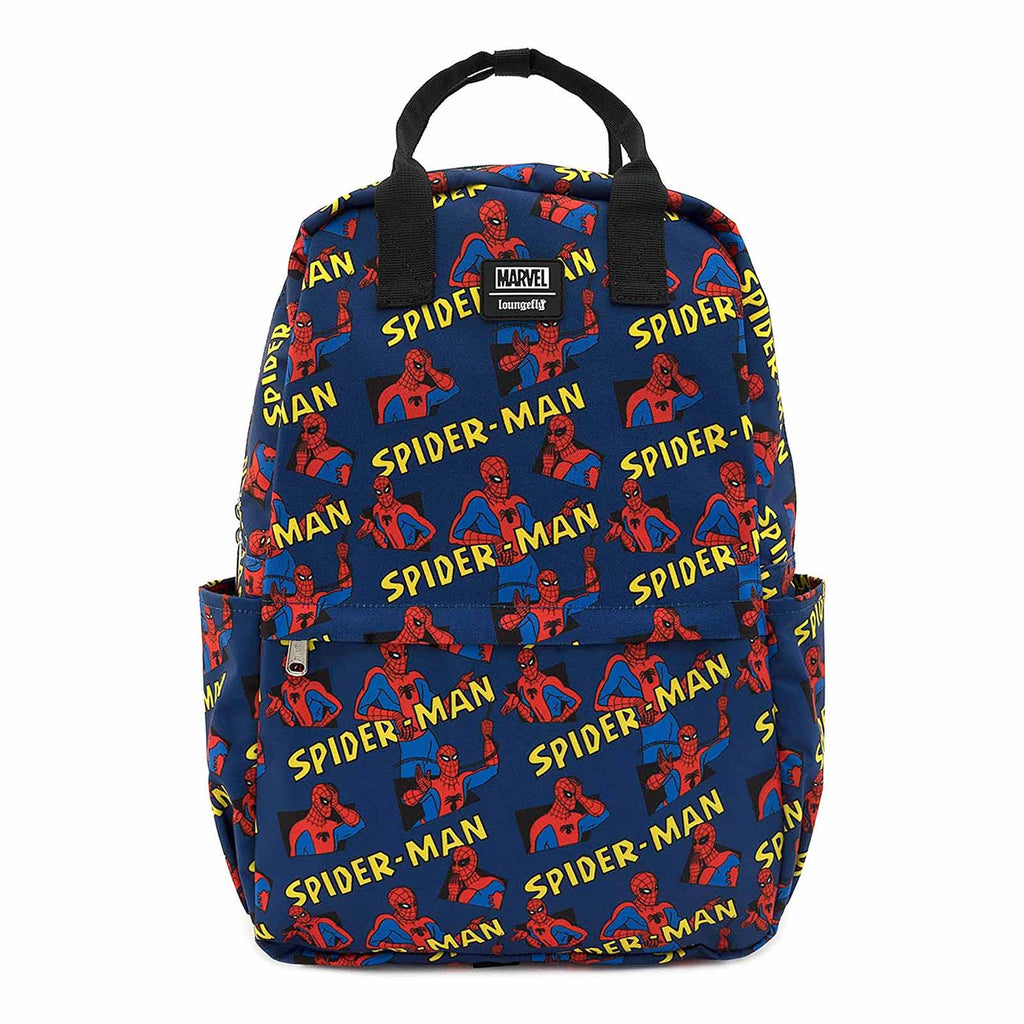 Loungefly Marvel Spiderman All Over Print Square Nylon Backpack