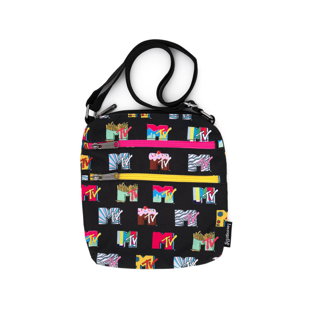 Loungefly MTV Logos All Over Print Passport Bag Purse