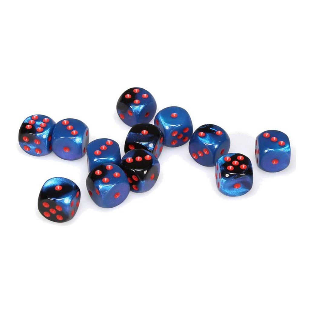 Chessex 12 Count 16mm D6 Black Starlight Red Dice CHX26658
