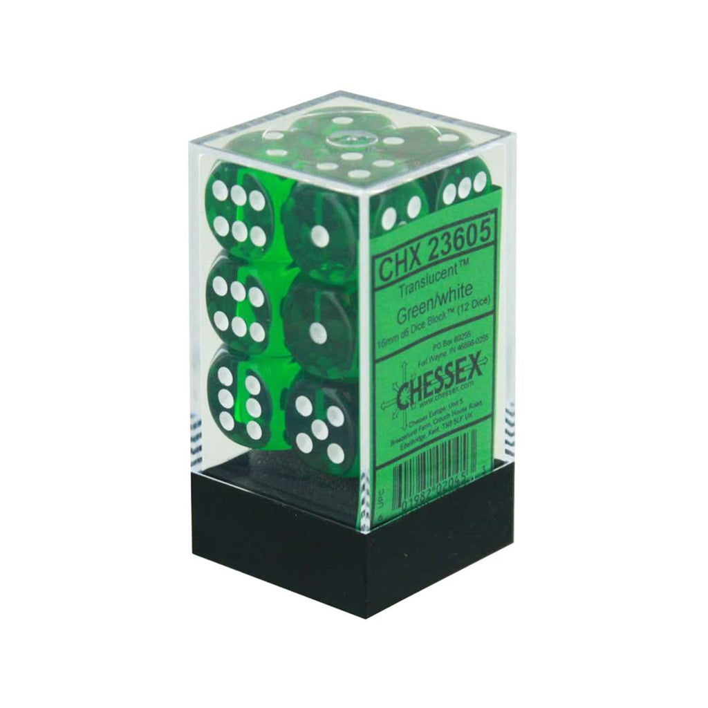 Chessex 12 Count 16mm D6 Translucent Green White Dice CHX23605