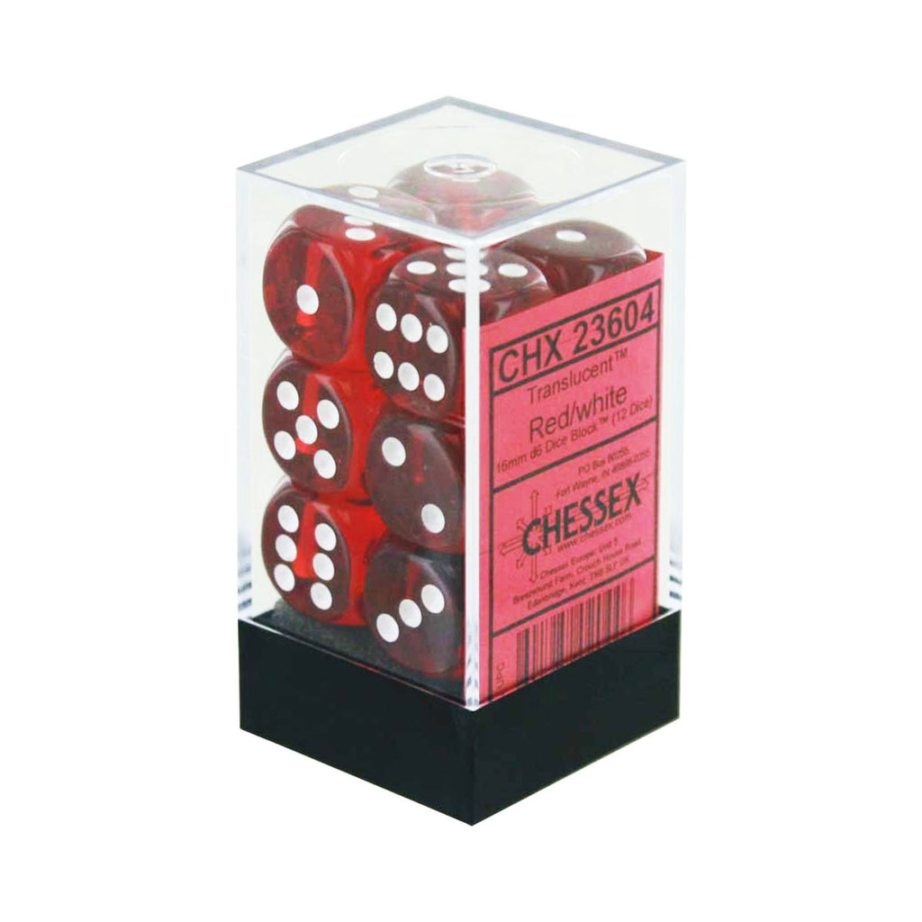 Chessex 12 Count 16mm D6 Translucent Red White Dice CHX23604
