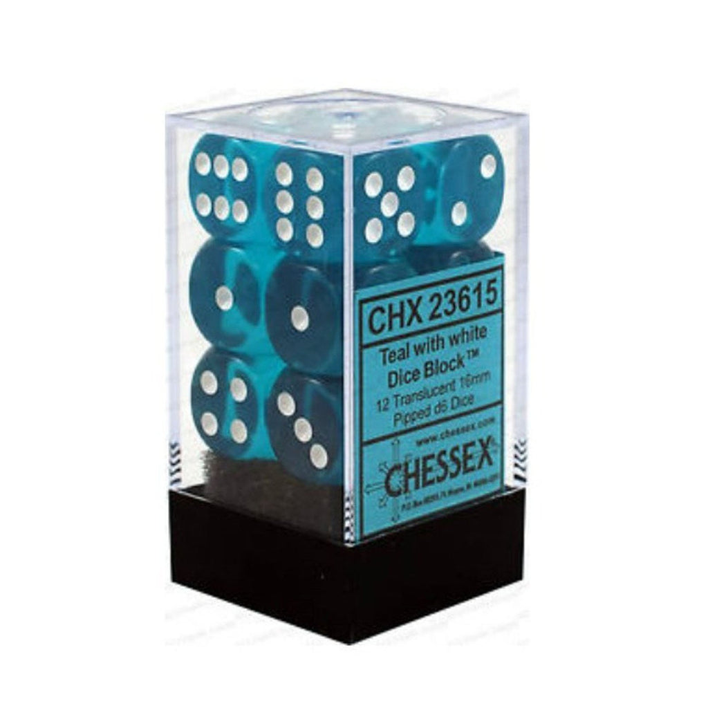Chessex 12 Count 16mm D6 Translucent Teal White Dice CHX23615