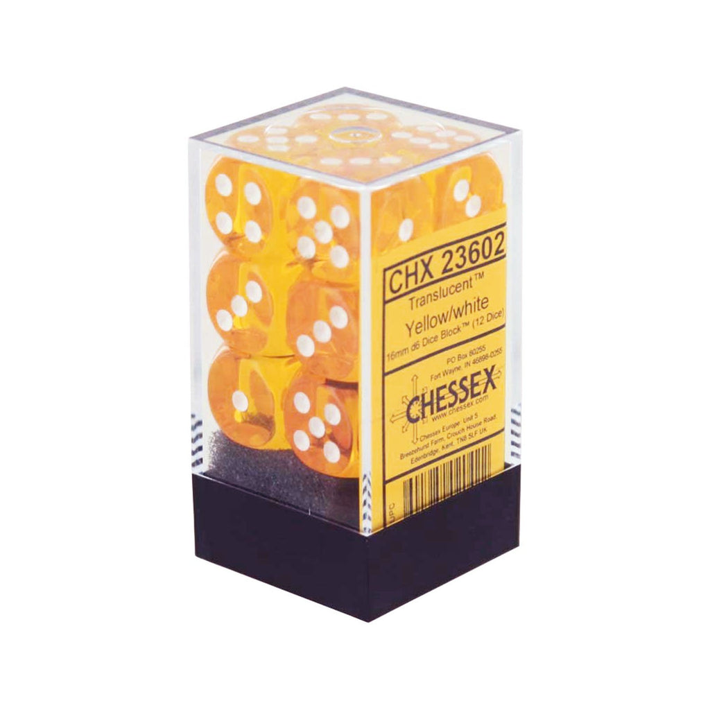 Chessex 12 Count 16mm D6 Translucent Yellow White Dice CHX23602