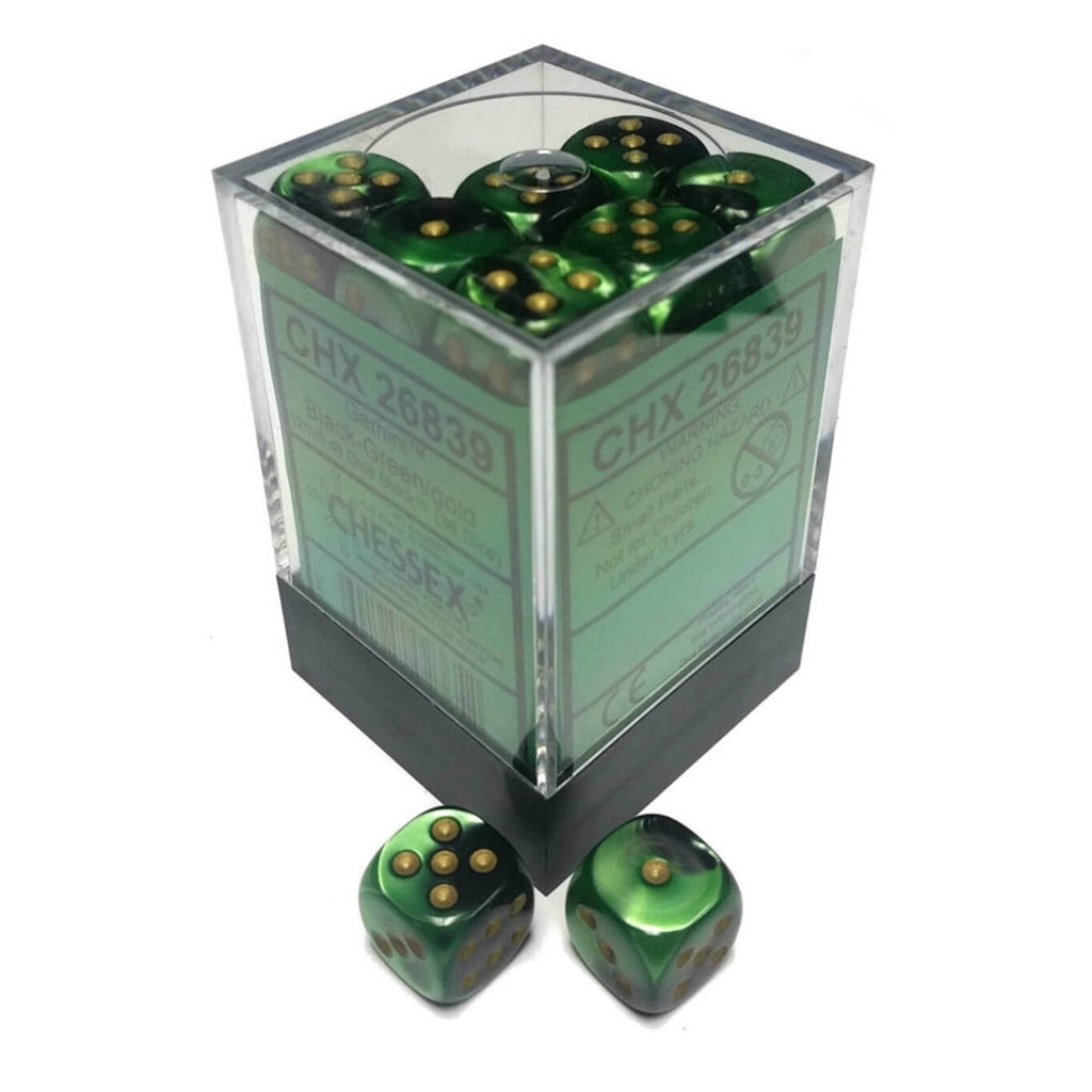 Chessex 12mm D6 Gemini Black Green Gold Set Dice 36 Count 26839