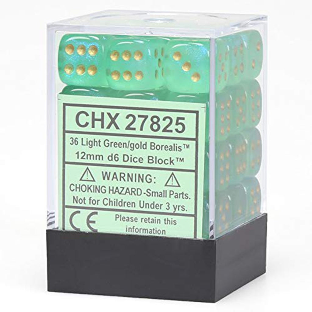 Chessex 12mm D6 Set Dice 36 Count Borealis Light Green Gold CHX 27825