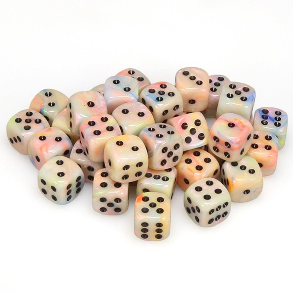 Chessex 12mm D6 Set Dice 36 Count Festive Circus/Black CHX 27842