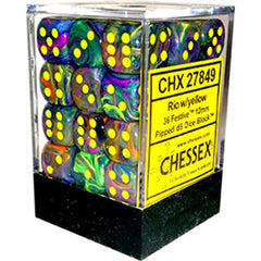 Board Games - Chessex 12mm D6 Set Dice 36 Count Festive Rio Yellow CHX 27849