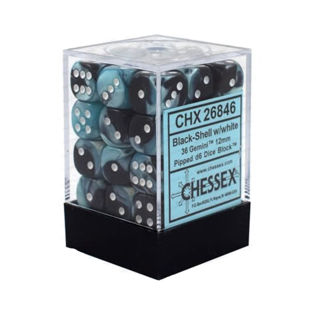 Chessex 12mm D6 Set Dice 36 Count Gemini Black-Shell White CHX 26846
