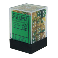Board Games - Chessex 12mm D6 Set Dice 36 Count Gemini Gold-Green/White CHX 26825