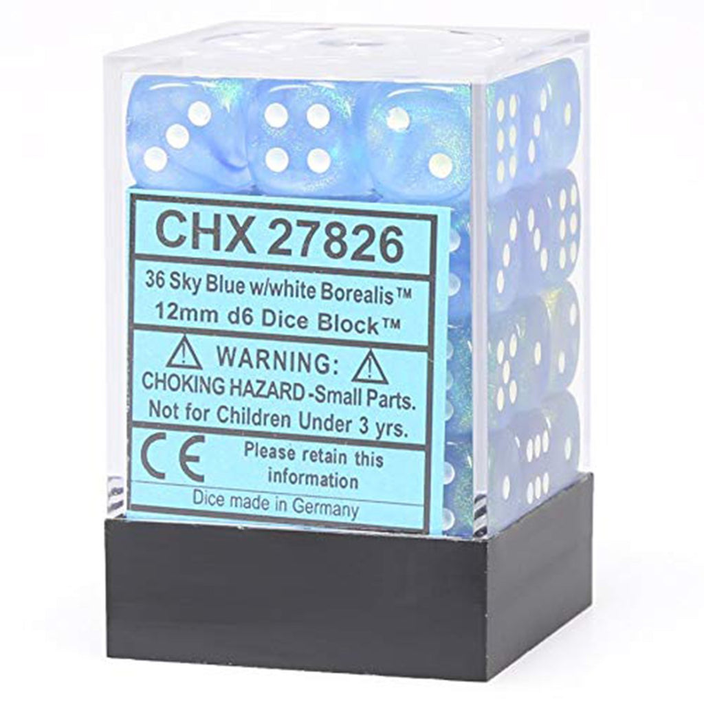 Chessex 12mm D6 Set Dice 36 Count Sky Blue White CHX 27826