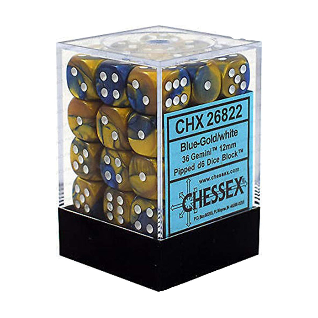 Chessex 12mm D6 Set Dice Gemini Blue Gold White 36 Count 26822