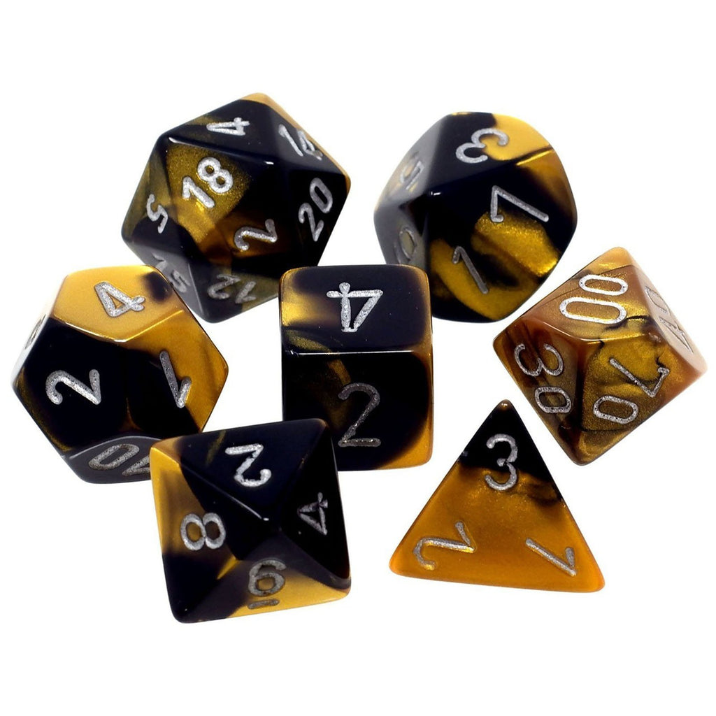 Chessex 7 Count Gemini Black Gold With Silver Dice CHX26451
