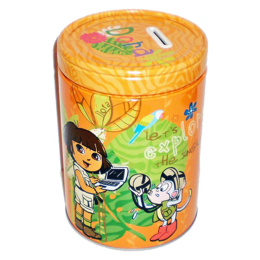 Dora the Explorer Jungle Explorer Round Tin Piggy Bank - Radar Toys