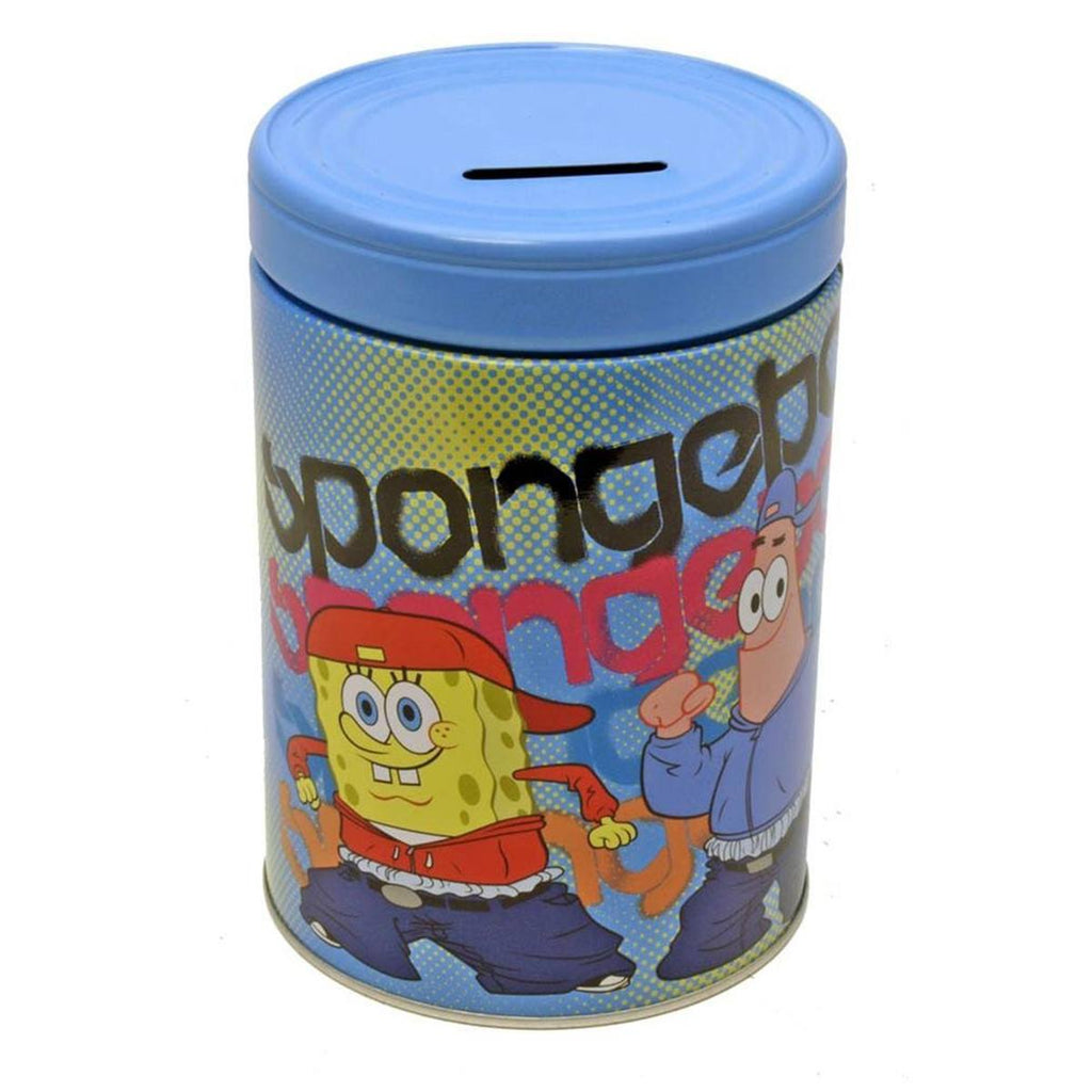 SpongeBob Metal Tin Round Bank Cool Guys