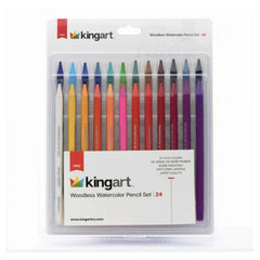 Crafts - Kingart Pro 24 Count Woodless Watercolor Pencil Set 315-24