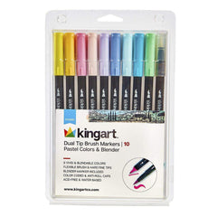 Crafts - Kingart Studio 10 Count Dual Tip Brush Marker Set 446