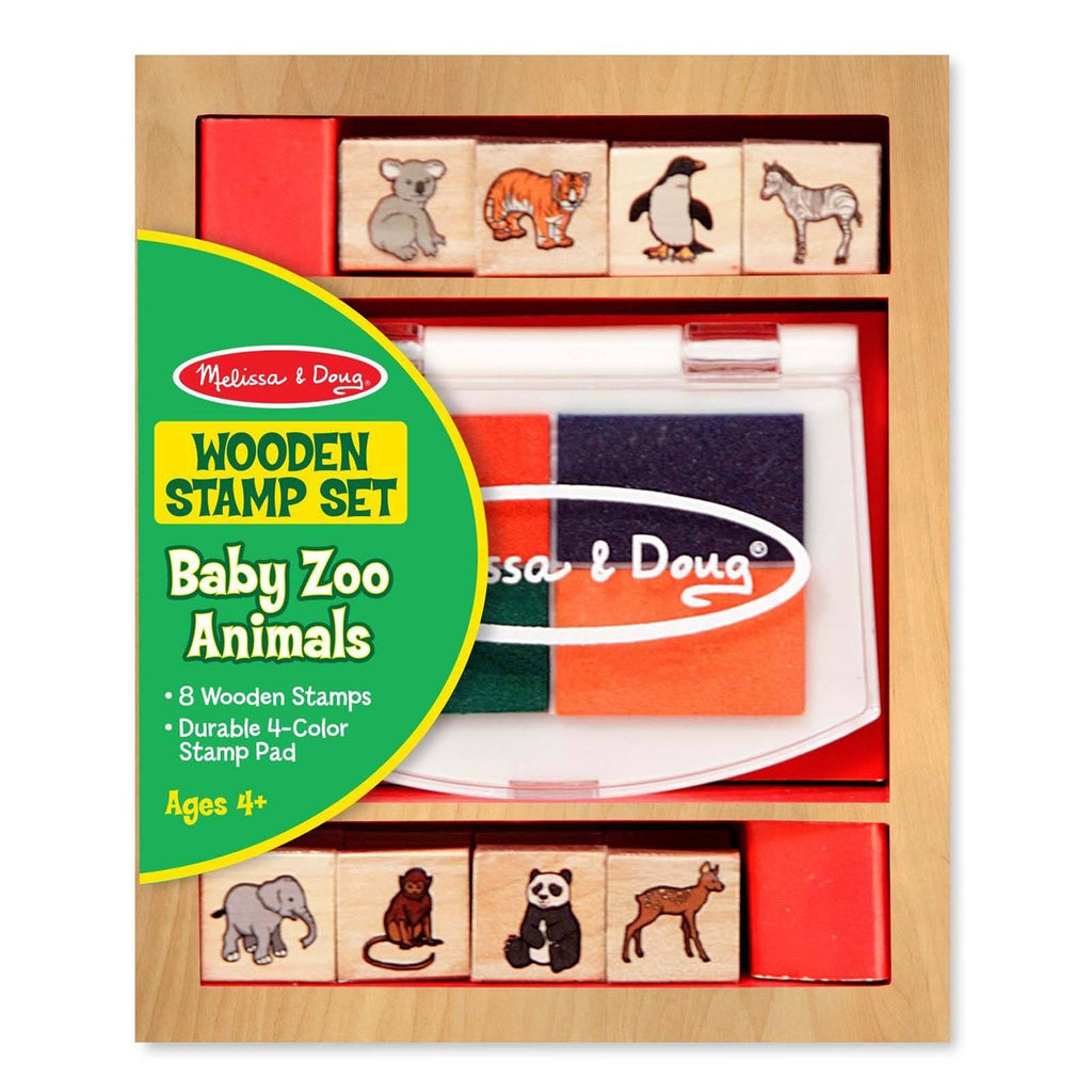 Melissa And Doug Baby Zoo Animals Wooden Stamp Set