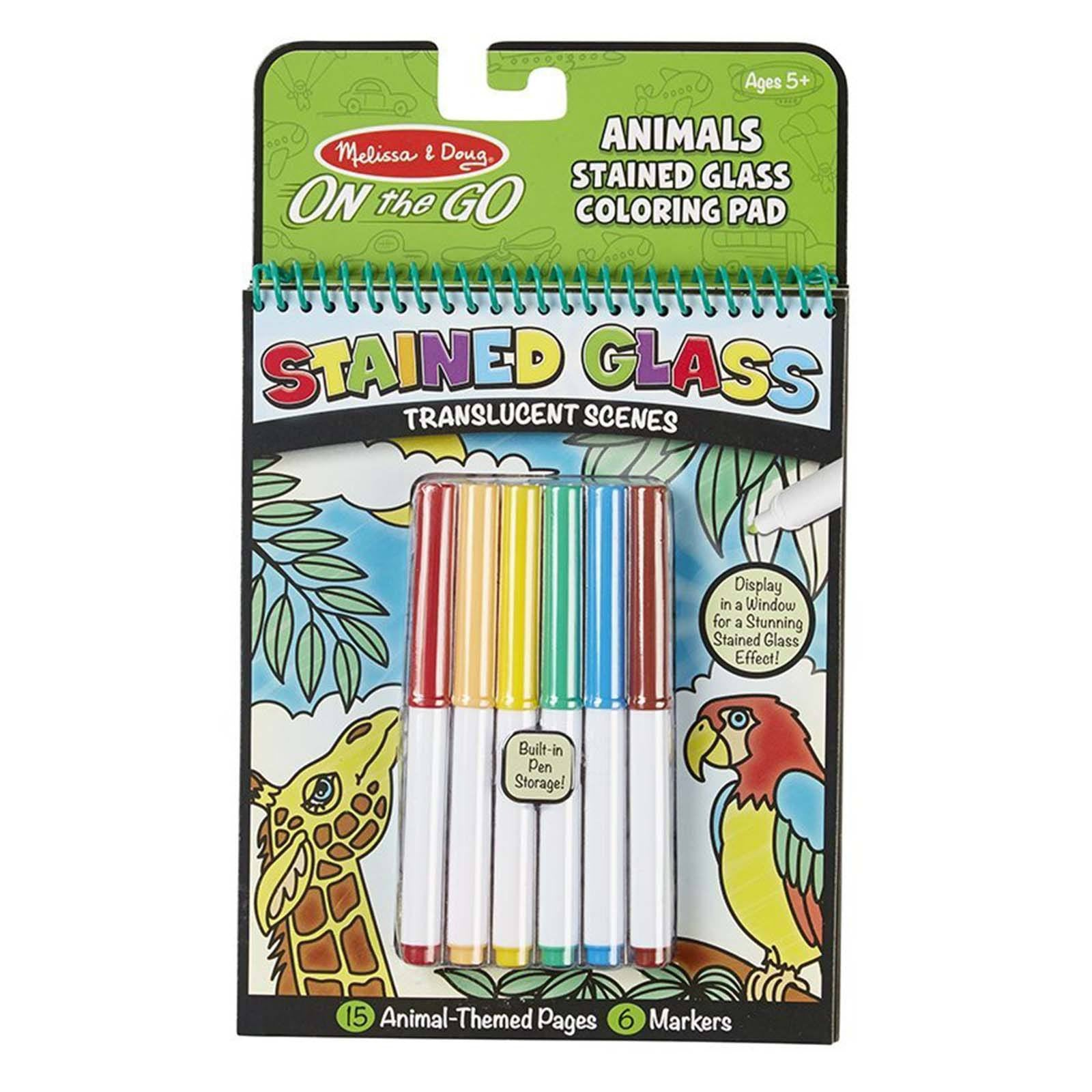 Melissa And Doug Animals Stained Glass Coloring Pad   Radar Toys ...