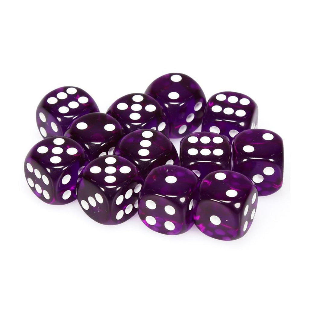 Chessex 12 Count 16mm D6 Translucent Purple White Dice CHX23607