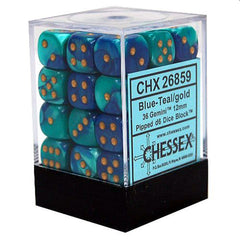 Dice - Chessex 12mm D6 Set Dice 36 Count Gemini Blue Teal Gold 26859