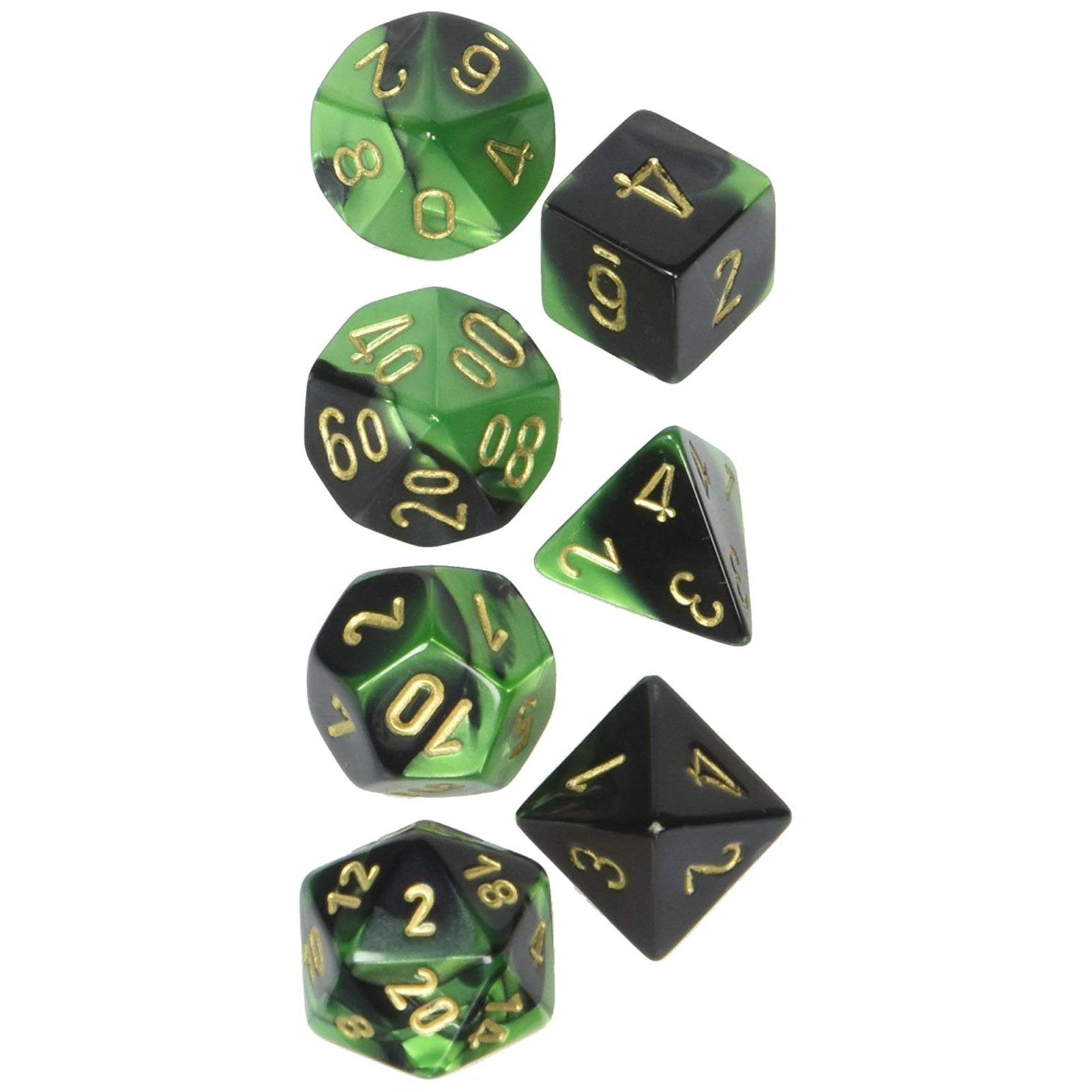 Chessex 601982022 Black-Green//Gold CHX26439 Set Dadi Gemini 7 Chessex Dice