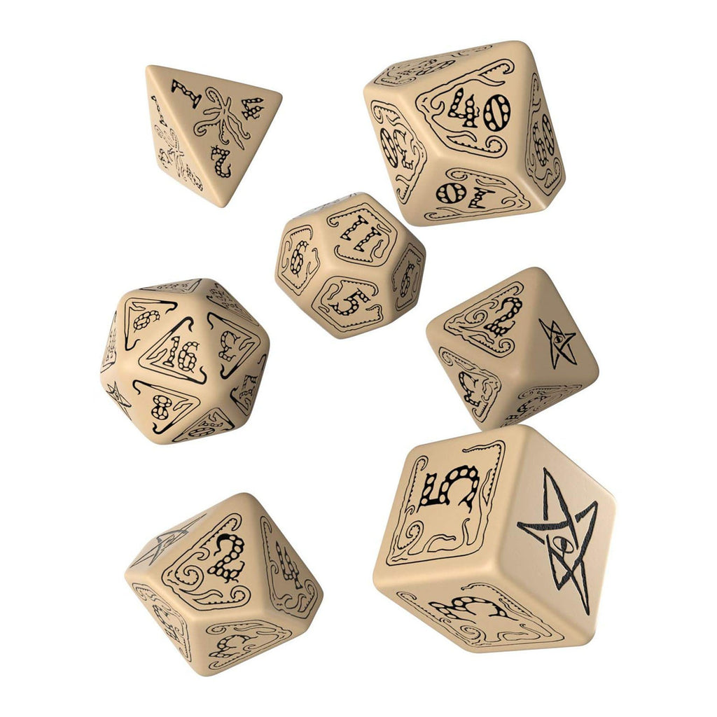 Q-Workshop Call Of Cthulhu Beige Black 7 Piece Dice Set