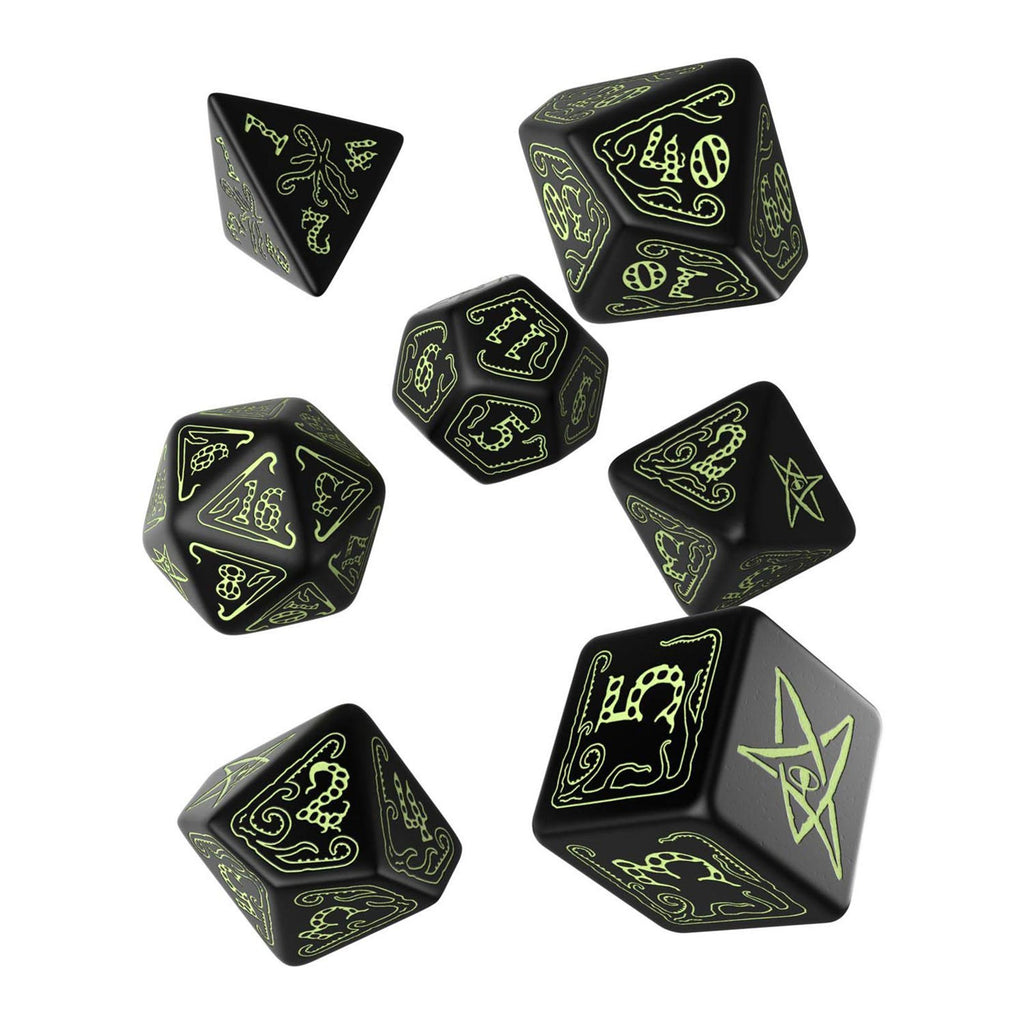 Q-Workshop Call Of Cthulhu Black Glow In The Dark 7 Piece Dice Set