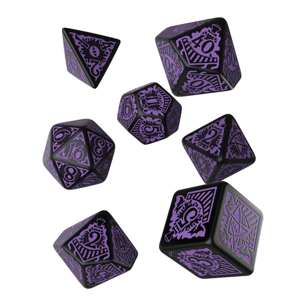 Q-Workshop Call Of Cthulhu Orient Express Black Purple 7 Piece Dice Set